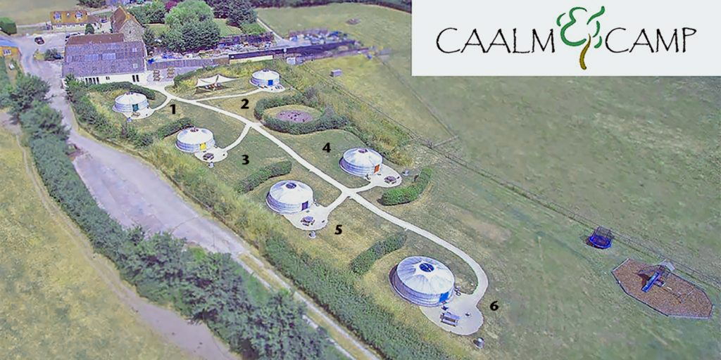 Caalm Camp and our 6 yurts from above
